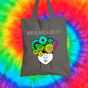Mental Health Matters Tote Bag Tote bag Grow Through Clothing Grey