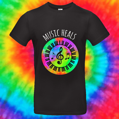 Music Heals Tee T-shirt Grow Through Clothing Black Front Small Unisex