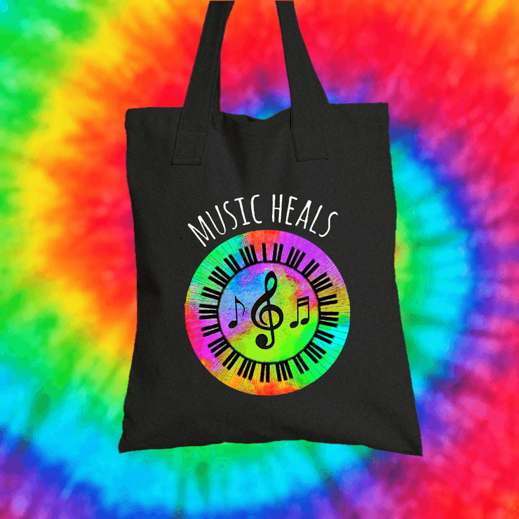 Music Heals Tote Bag Tote bag Grow Through Clothing Black