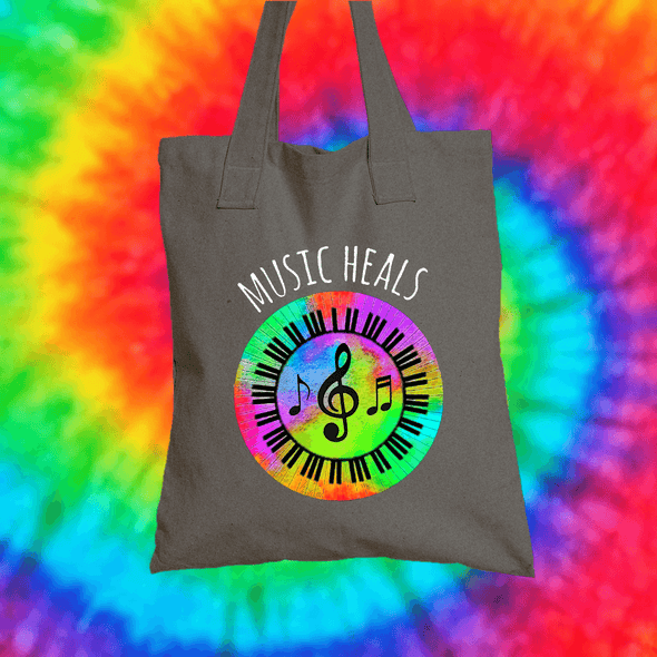 Music Heals Tote Bag Tote bag Grow Through Clothing Grey