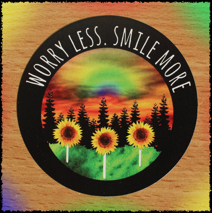 Original Hand-Painted Stickers Sticker Grow Through Clothing Worry Less Smile More Single Sticker