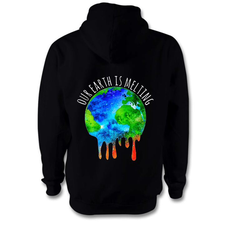 Our Earth Is Melting Hoodie Hoodie Grow Through Clothing Black Back Extra Small Unisex