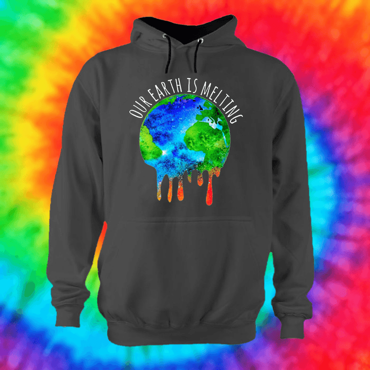 Our Earth Is Melting Hoodie Hoodie Grow Through Clothing Grey Front Extra Small Unisex