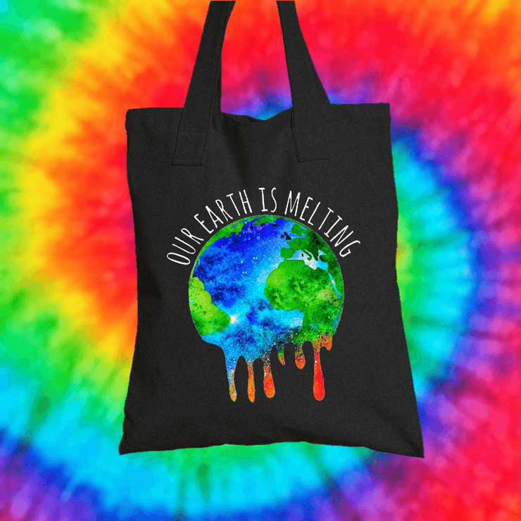 Our Earth Is Melting Tote Bag Tote bag Grow Through Clothing Black