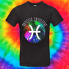 Pisces Zodiac Tee T-shirt Grow Through Clothing Black Front Small Unisex