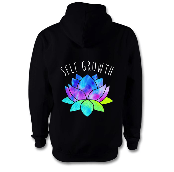 Self Growth Hoodie Hoodie Grow Through Clothing Black Back Extra Small Unisex
