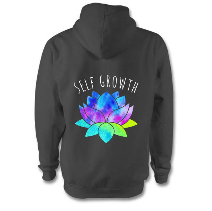 Self Growth Hoodie Hoodie Grow Through Clothing Grey Back Extra Small Unisex