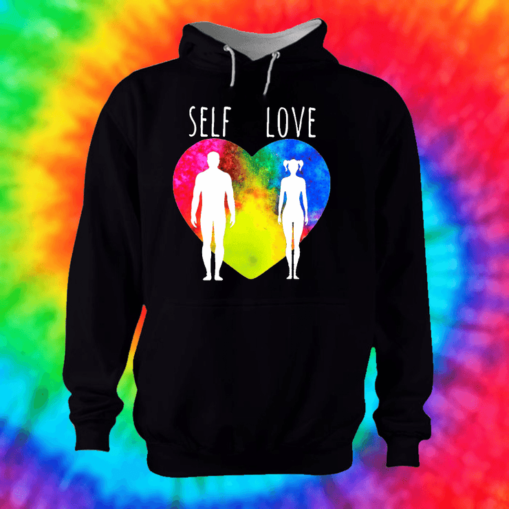 Self Love Hoodie Hoodie Grow Through Clothing Black Front Extra Small Unisex
