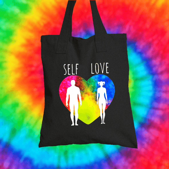 Self Love Tote Bag Tote bag Grow Through Clothing Black