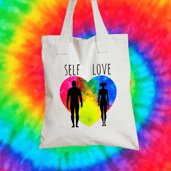 Self Love Tote Bag Tote bag Grow Through Clothing White