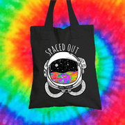 Spaced Out Tote Bag Tote bag Grow Through Clothing Black