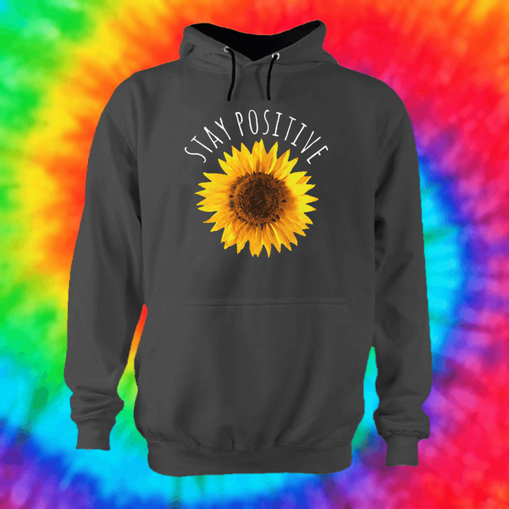 Stay Positive Hoodie Hoodie Grow Through Clothing Grey Front Extra Small Unisex