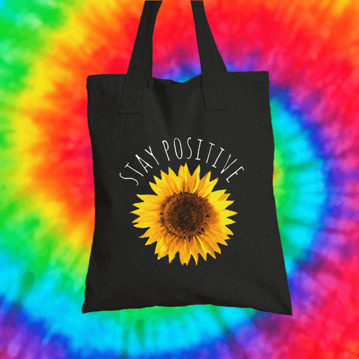 Stay Positive Tote Bag Tote bag Grow Through Clothing Black