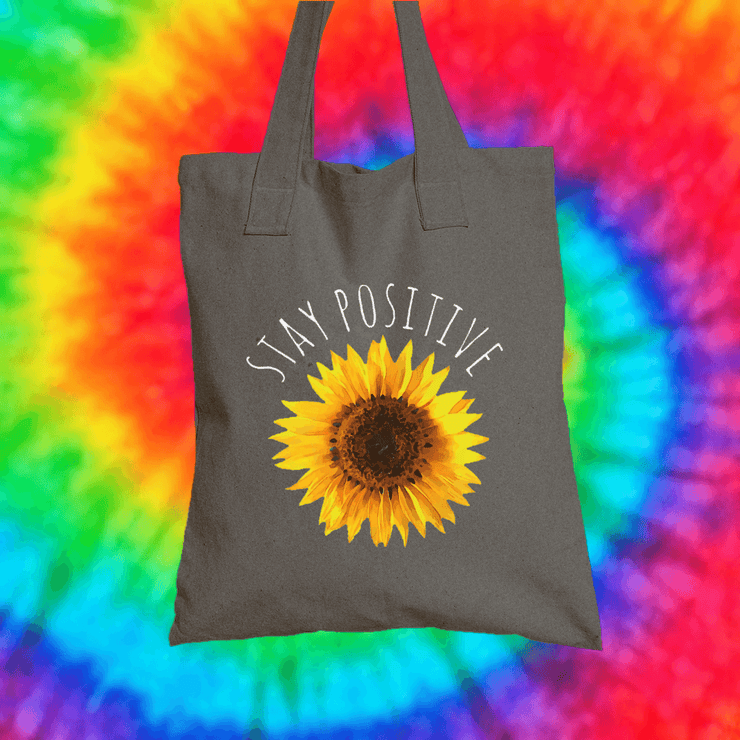 Stay Positive Tote Bag Tote bag Grow Through Clothing Grey