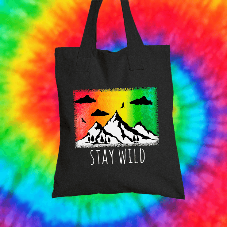 Stay Wild Tote Bag Tote bag Grow Through Clothing Black