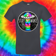 Stay Woke Tee T-shirt Grow Through Clothing Grey Front Small Unisex