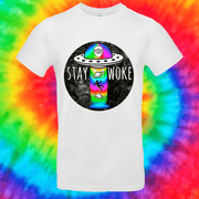 Stay Woke Tee T-shirt Grow Through Clothing White Front Small Unisex