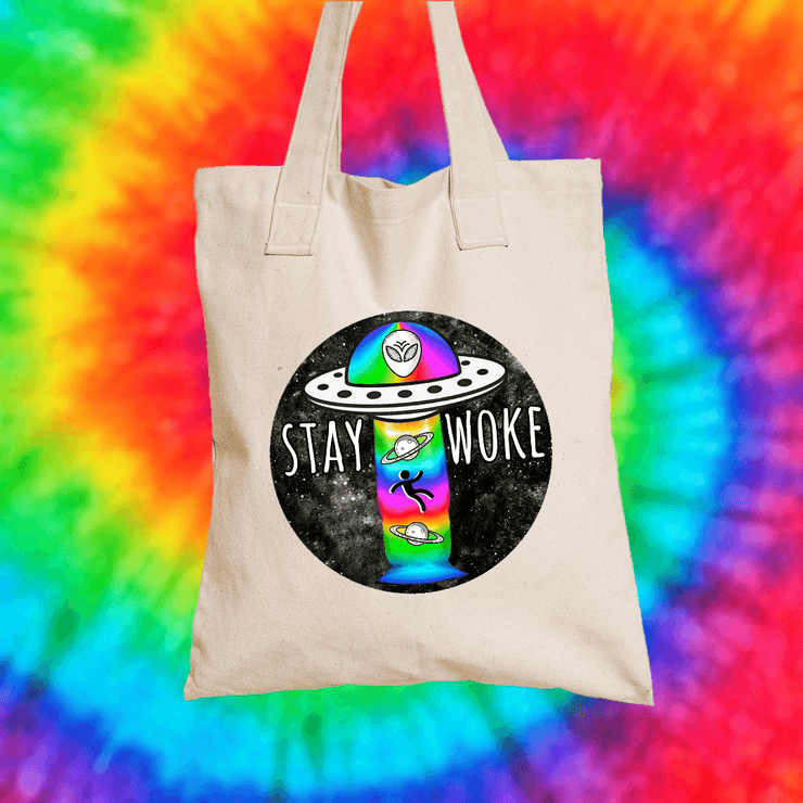 Stay Woke Tote Bag Tote bag Grow Through Clothing Beige
