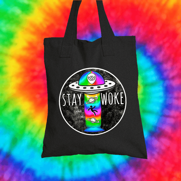 Stay Woke Tote Bag Tote bag Grow Through Clothing Black