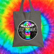 Stay Woke Tote Bag Tote bag Grow Through Clothing Grey