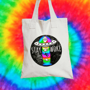 Stay Woke Tote Bag Tote bag Grow Through Clothing White