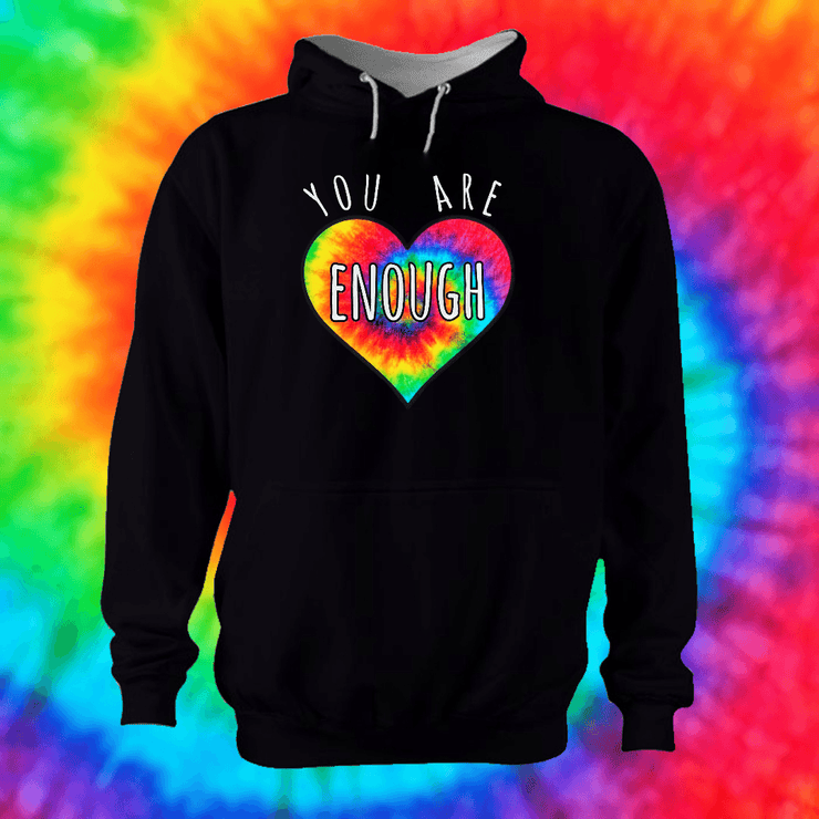 You Are Enough Hoodie Hoodie Grow Through Clothing Black Front Extra Small Unisex