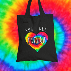 You Are Enough Tote Bag Tote bag Grow Through Clothing Black