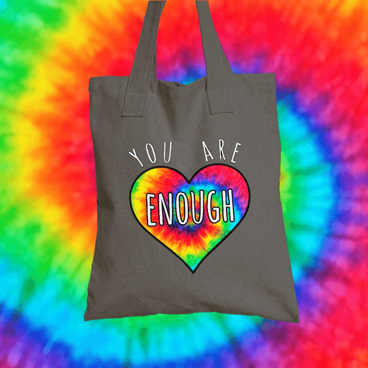 You Are Enough Tote Bag Tote bag Grow Through Clothing Grey