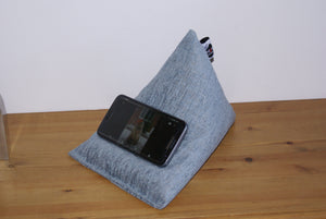 Cool Blue Techbed Mini iPhone X 8 7 6 5 Samsung S9 S8 S7 iPad Mini Kindle cushion stand pillow beanbag with Samsung S7 in landscape