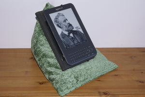 Green Techbed Kindle beanbag stand or iPad Pillow