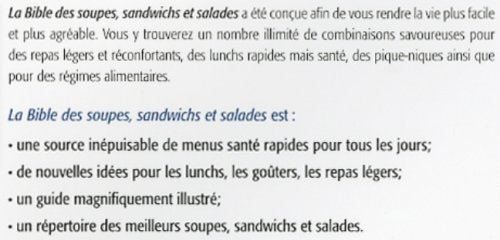 La bible des soupes, sandwitches et salades (Marie-Claude Morin)