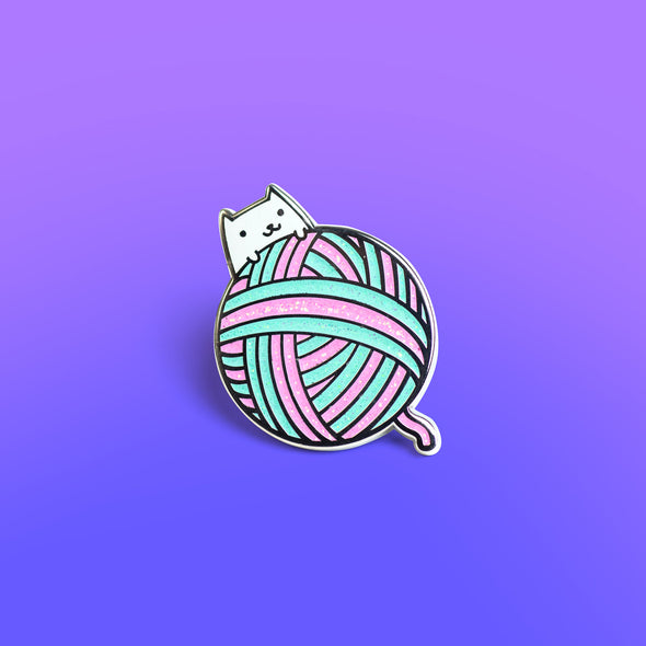 Yarn Ball Kitty Enamel Pin - Mint Version