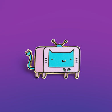 Kitty Vision 4K Enamel Pin – Pastel Blue Face