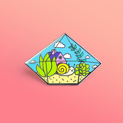 Shelly's New Home Terrarium Enamel Pin
