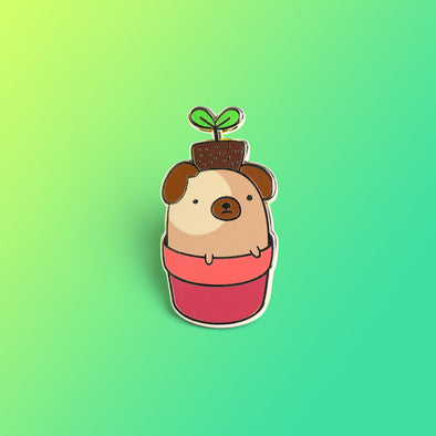 Sprout, the Pug In A Pot Enamel Pin