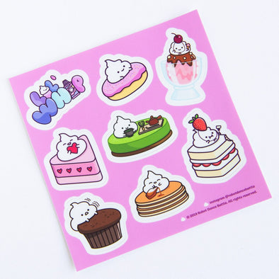 Adorable dessert sticker sheet with whip cream character