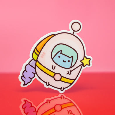 Commander Kitty Space Suit Sticker