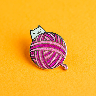 Yarn Ball Kitty Enamel Pin - Pink Version