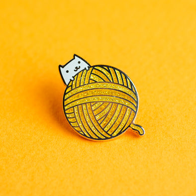 Yarn Ball Kitty Enamel Pin - Gold Version