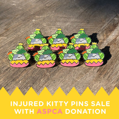 Injured Cactus Cat Enamel Pin - ASPCA Donation Sale
