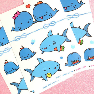 Whale and Shark Friend Stickers