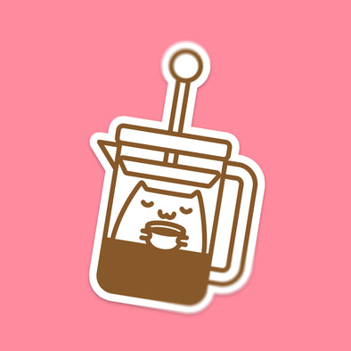 French Press Coffee Cat Sticker