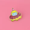 Commander Kitty Donut Space Ship Enamel Pin
