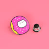 Mochi Cat Stuck in Donut Enamel Pin