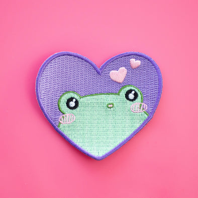 Heart Frog Iron on patch