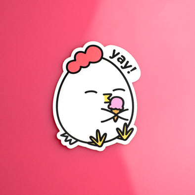 Grumpy Chicken with Ice Cream Sticker