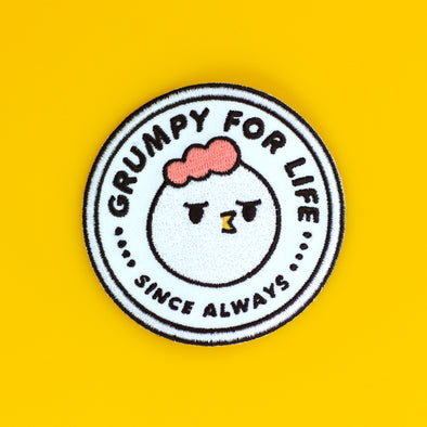 Grumpy Chicken, Grumpy For Life Iron on patch