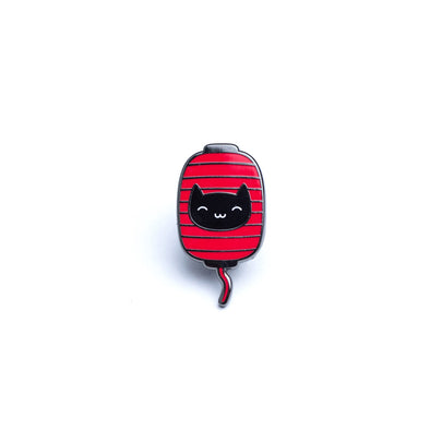 Kitty Lantern Enamel Pin - Black