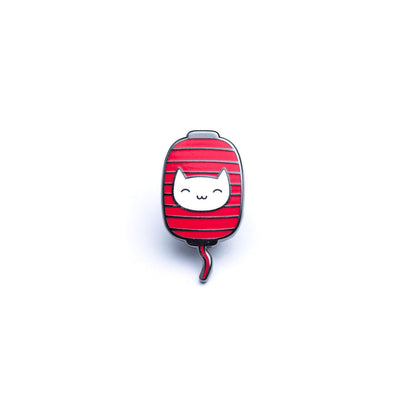 Kitty Lantern Enamel Pin - White