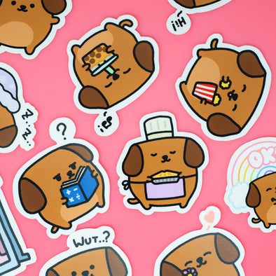 Mocha Doggo Sticker - 6 random ones